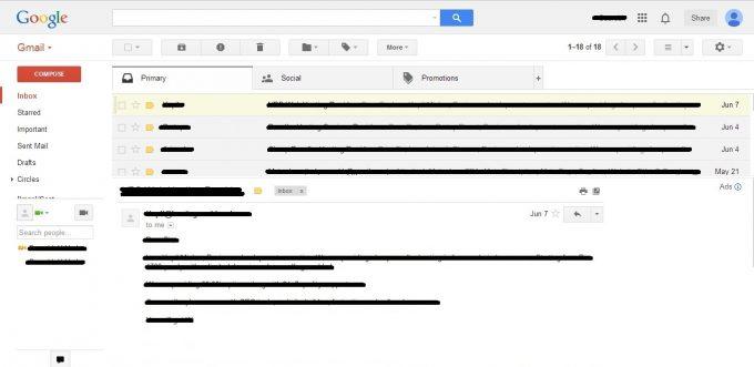 Screenshot of Horizontal Gmail Reading Pane