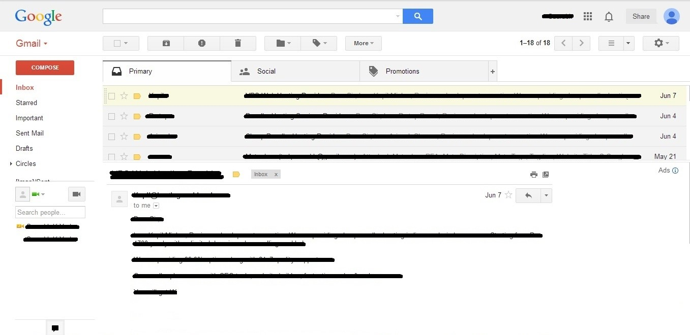 Snapshot of Horizontal Preview Pane in Gmail