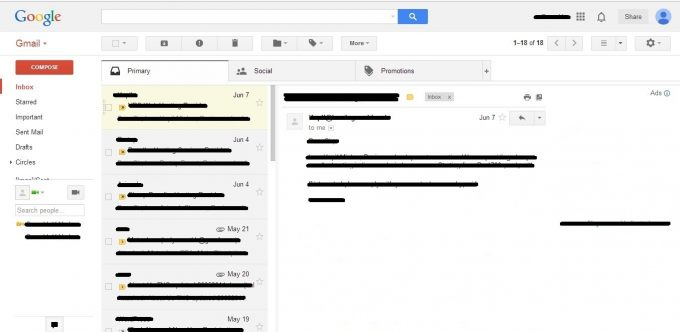 Screenshot of Vertical Gmail Reading Pane