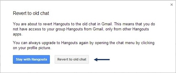image 4- Pop-up window to confirm 'Revert to old chat'