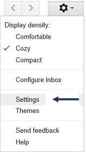 image 5- Gmail setting menu