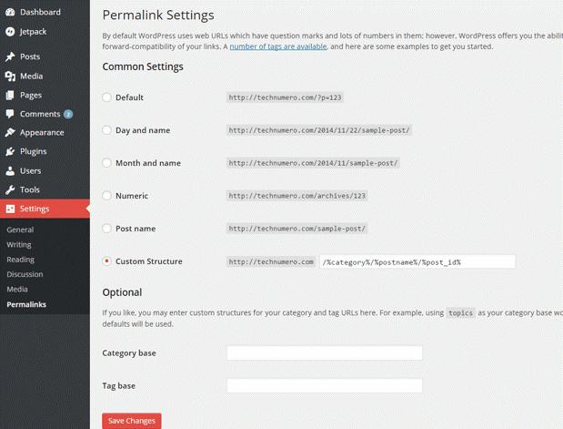 Edit WordPress Permalink Settings