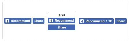 Types of Facebook Recommend Button and Facebook Share Button