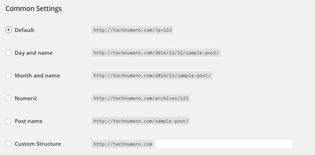 WordPress Permalink Structure Default Settings