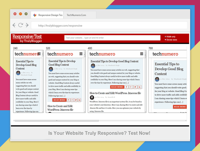 test responsive layout