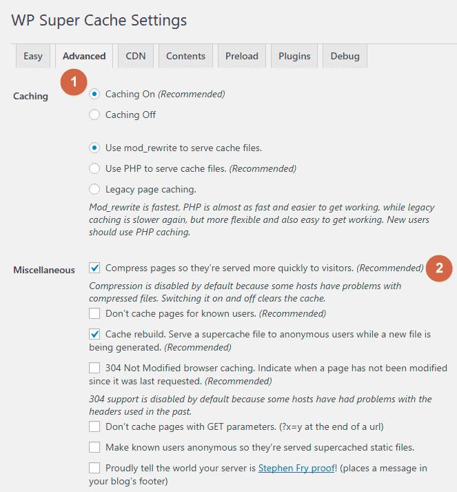 Enable Gzip Compression with WordPress Plugin - WP Super Cache