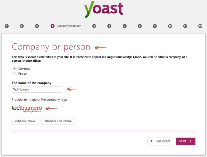 Company or Person - Configuration Wizard - Yoast SEO