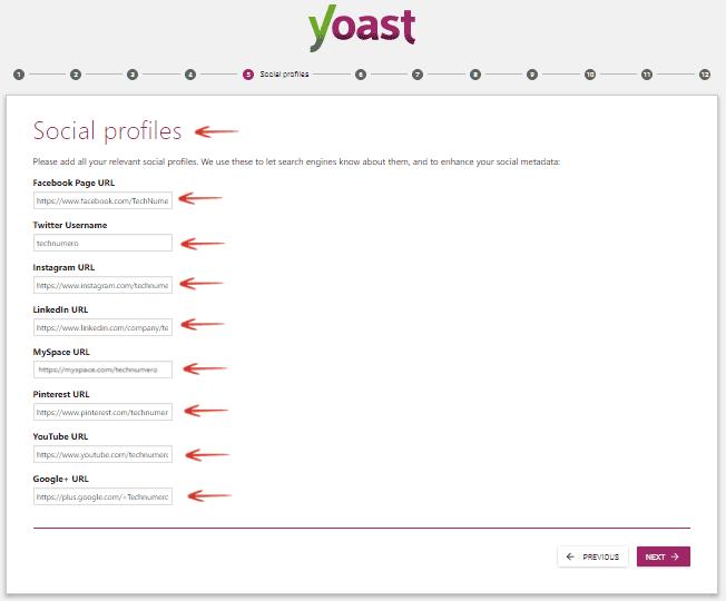 Social Profiles Yoast SEO