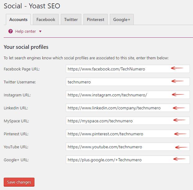 Social Media Accounts - Yoast WordPress SEO Plugin