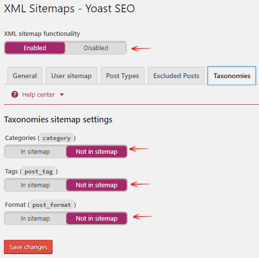 Taxonomies Sitemap Settings - Yoast SEO