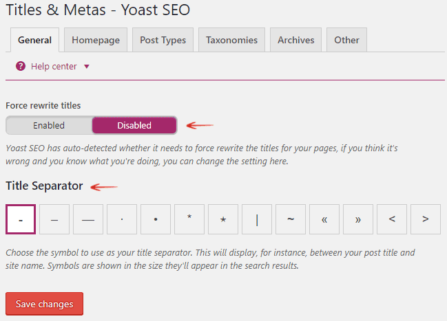 Titles and Metas - Force Rewite Titles - Yoast SEO
