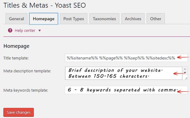 Titles and Metas - Homepage - Yoast SEO