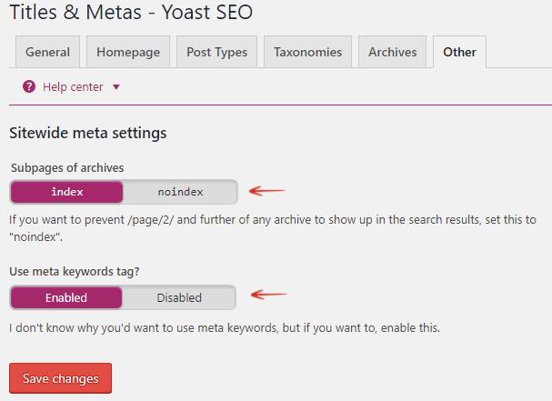 Sitewide Meta Settings - Titles and Metas - Yoast SEO