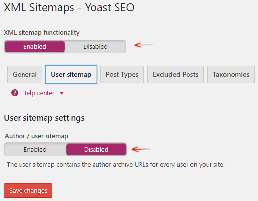 User Sitemap Settings - Yoast WordPress SEO plugin