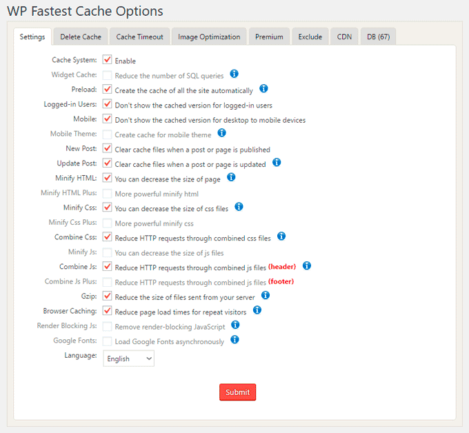 WP Fastest Cache WordPress Plugin Setting