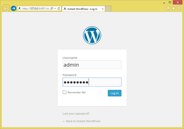 WordPress localhost login page - TechNumero