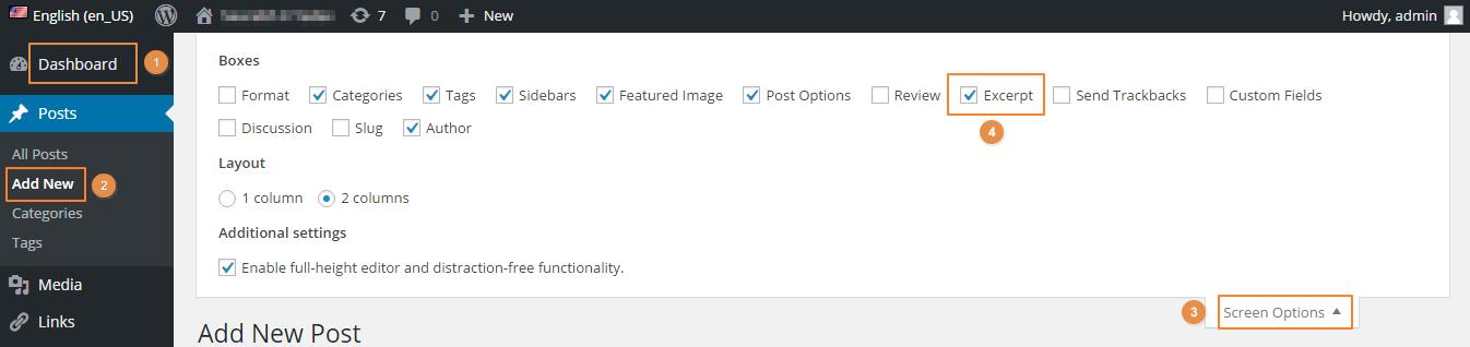How to Enable Custom Excerpt option in WordPress