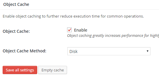 object cache w3tc