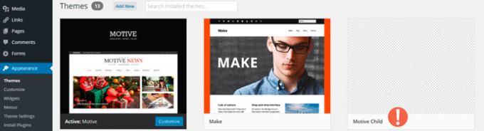 Child Theme in WP Dashboard