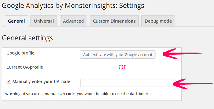 google analytics monsterInsights settings
