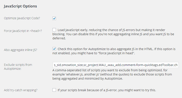 Eliminate render blocking javascript autoptimize-javascript-settings