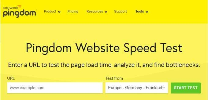 Pingdom Tools for Website Speed Test