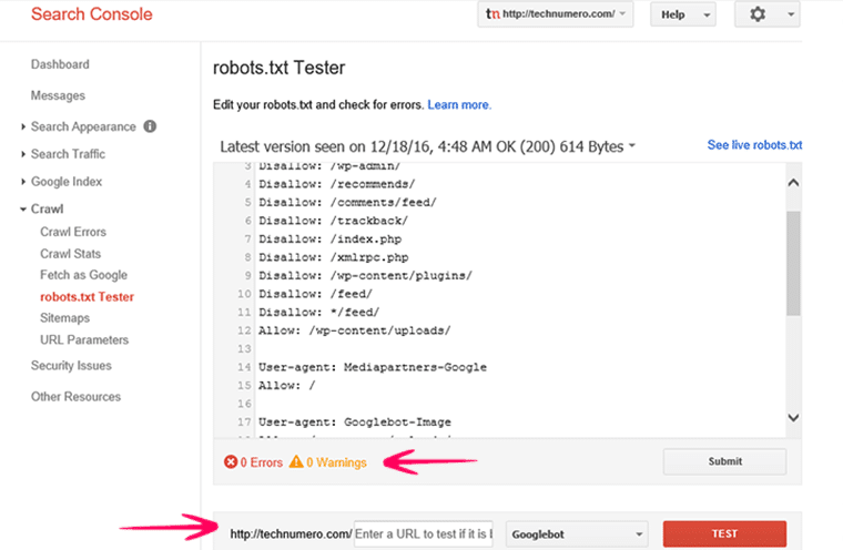 Robots.txt Tester tool in Google Webmasters Tools -Technumero