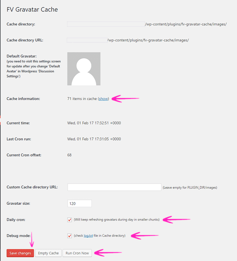 FV Gravatar Cache WordPress plugin Settings -Technumero