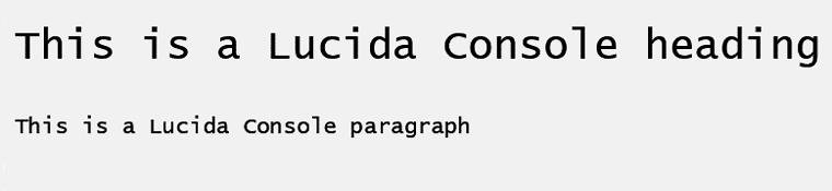Lucida Console Web Safe Font
