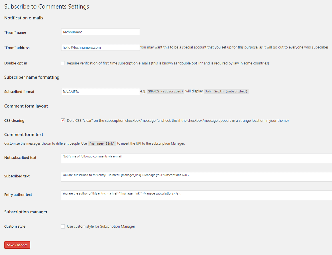 Subscribe to Comments WordPress Plugin Settings -Technumero.com
