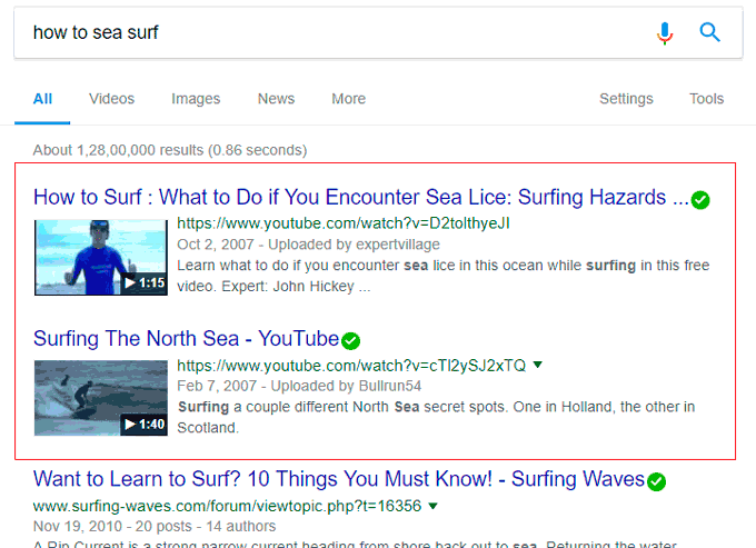 How to Sea Surf Google Search Result