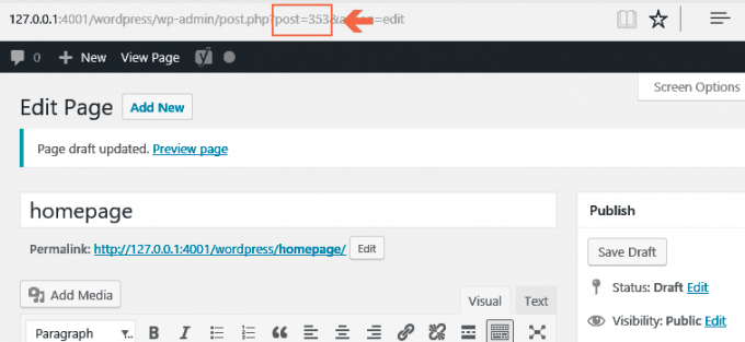 Page-ID showing in WordPress Visual Editor
