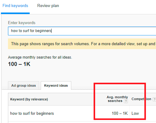 Use the Google Keyword Planner to find the search volume - Optimize YouTube Videos