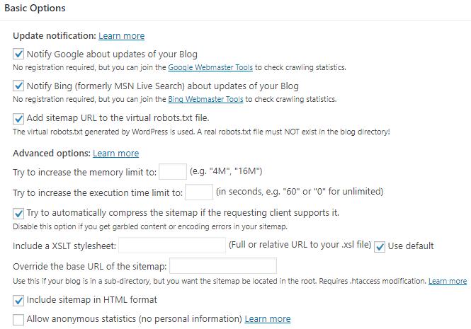 Google XML Sitemaps Basic Options