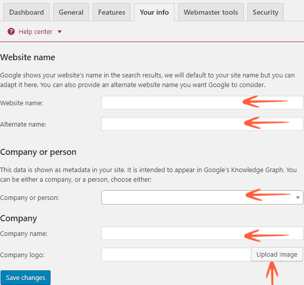 Yoast SEO Website-Company-Person info settings