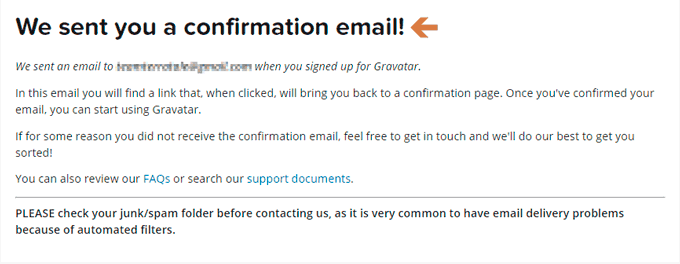 Email sent to you for confirmation page
