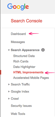 HTML Improvements under Search Appearance in GSC