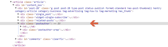 div tags of post author in single.php file