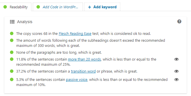 Readability Analysis in Yoast SEO WordPress Plugin