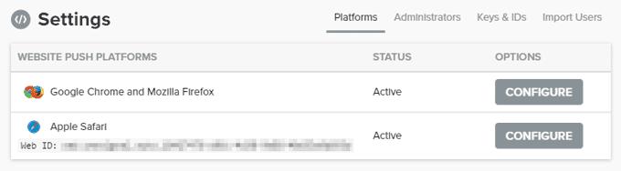OneSignal Safari Web ID