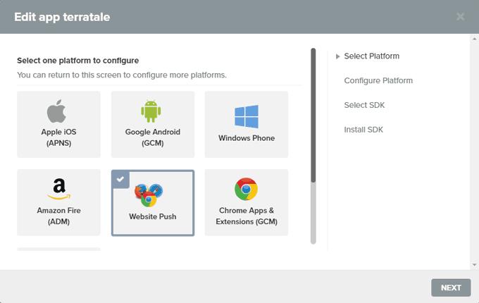 "Select the Platform ""Website Push"""