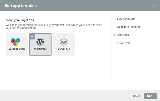 Select the WordPress SDK