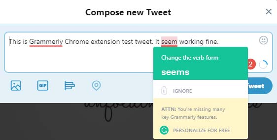 Grammarly for Chrome - extension