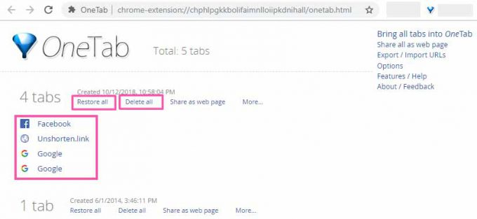OneTab - Chrome Extension