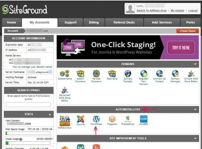 Choose WordPress Auto-Installer in cPanel of SiteGround