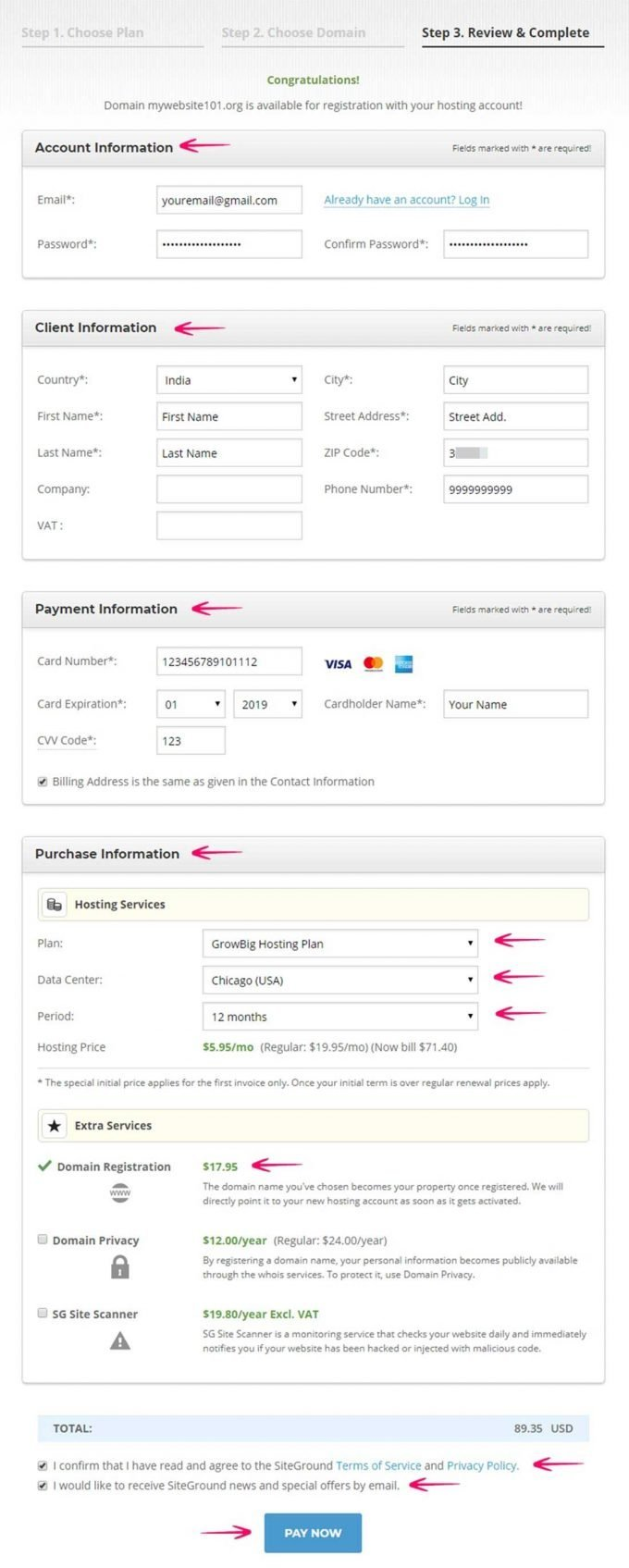Fill Account and Payment Details to Complete the Process