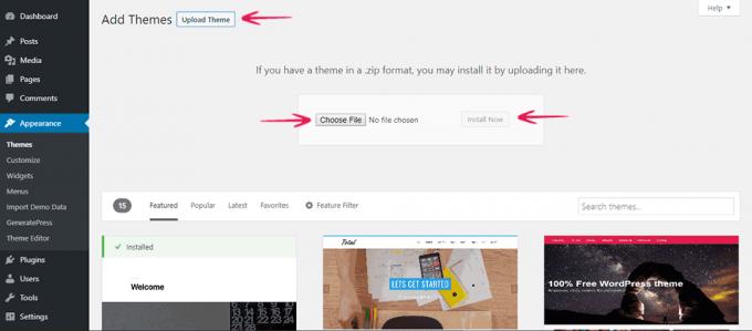 Install WordPress theme using .zip file of theme