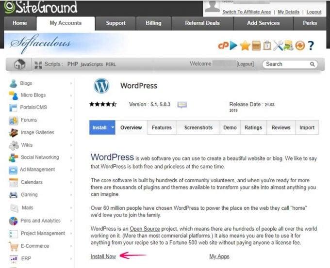 Wordpress Auto-installer Siteground Hosting