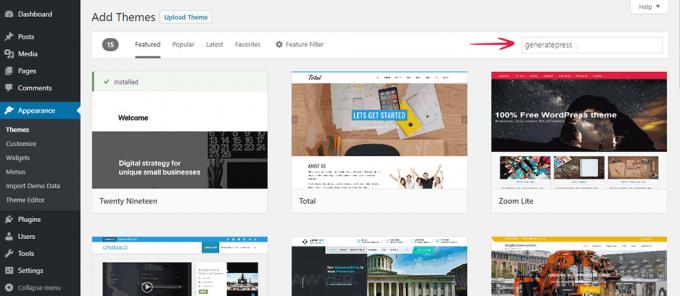 Search theme in WordPress Theme Directory