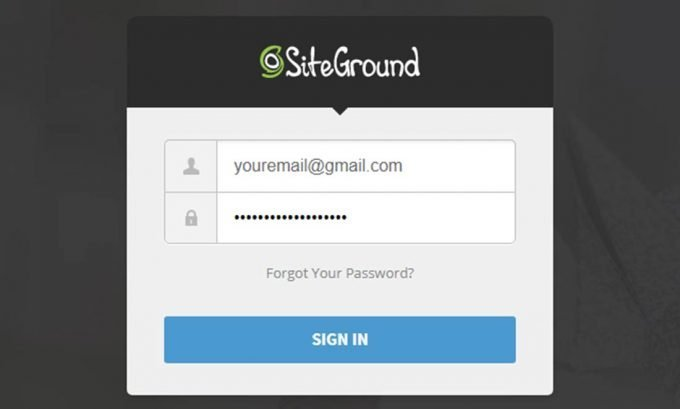 Sign in to your SiteGround Account